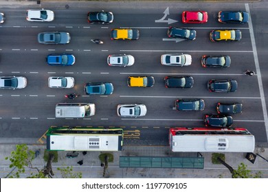 Dense Traffic at Rush Hour in Libertador Avenue, Buenos Aires, Argentina - Aerial  Top View.