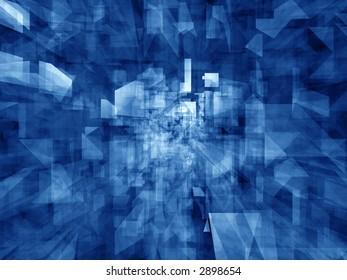 Dense transparent reflective crystal forms - rendered background
