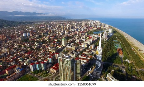 Densely built-up Black Sea resort city, Batumi Georgia aerial view, real estate