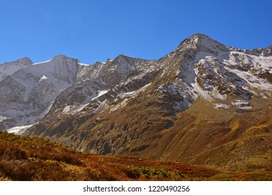 The Dent Blanche (left) and the Pigne de la Le, in the Val d'Anniviers above Zinal in the Southern Swiss Alps