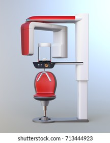 Dental 3D X-ray machine with patient chair isolated on gradient background. 3D rendering image.