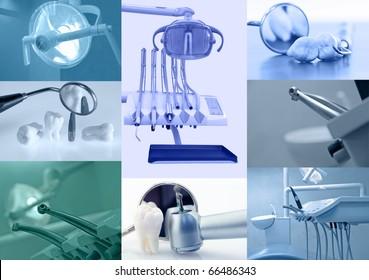 Dental background. Set of dentistry images blue tinted