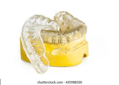 dental bite with stone model on white background