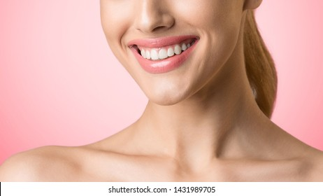 Dental Care. Girl With Wide Perfect Smile Over Pink Studio Background, Crop