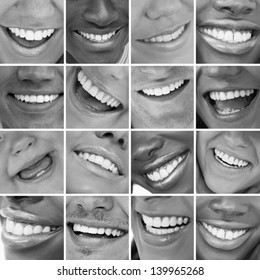 Dental care montage in black and white