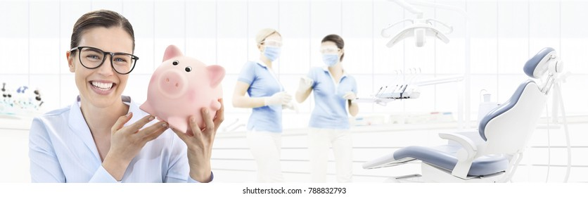 dental care savings concept, beautiful smiling woman with piggy bank on dentist clinic background with dentist's chair, web banner template