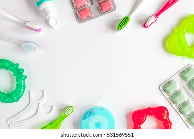 dental care toothbrush on white background