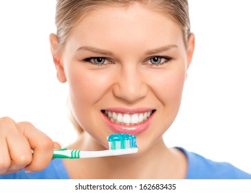 Dental care woman with tooth brush, isolated on white background.