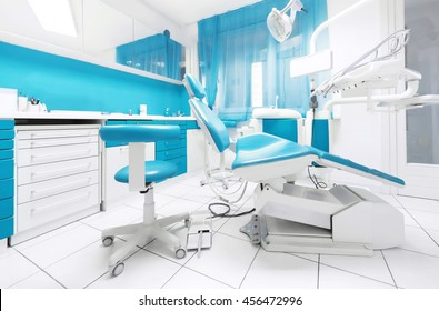 dental clinic interior with modern blue dentistry equipment