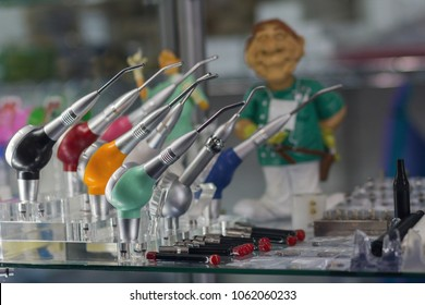 Dental equipment on the counter of the store. Medicine