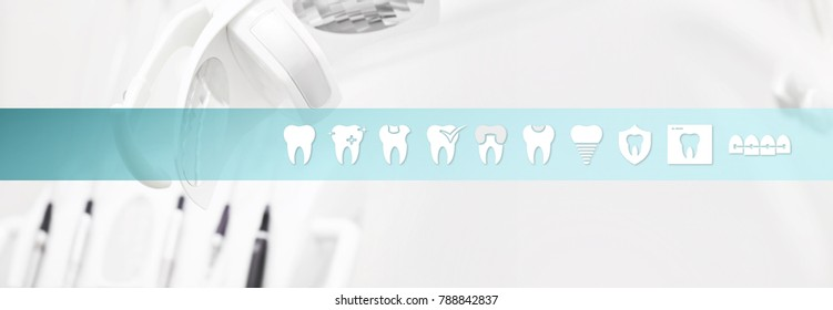 Dental health care concept teeth icons and symbols web banner background