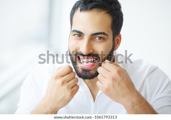 Dental Health Man Beautiful Smile Flossing Stock Image Download Now