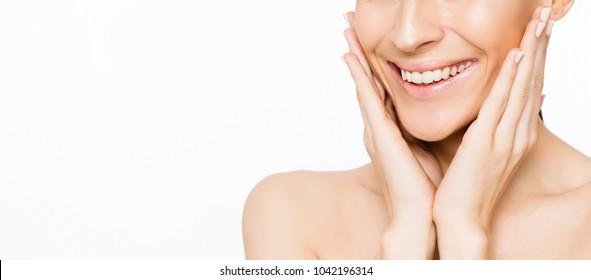 Dental health. Wide snow-white female smile.