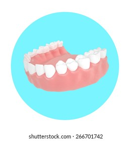 dental jaw icon on the blue circle 3d render