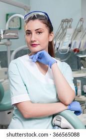 Dental office interior. Portrait of a dentist.