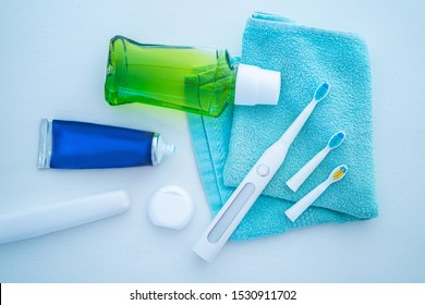 Dental products for brush teeth, healthy teeth care and oral hygiene and fresh breath