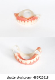 Dental prosthesis made of acetal for the upper jaw in 2 projections closeup on white background. It's a convenient material in dental prosthetics. This design is attached with alveolar-dental clasps.