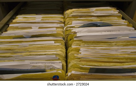 Dental Records in Filing Cabinet Drawer