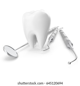 Dental set, mirror, probe, with tooth, concept care isolated on white background, 3D rendering