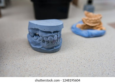 Dental technician tools with articulator in dental laboratory