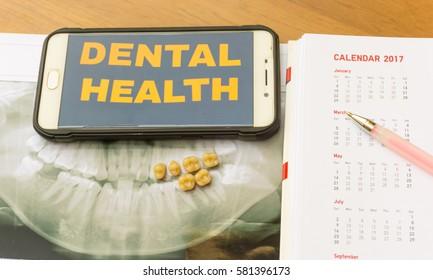 dental tools on wooden background. Medical service concept