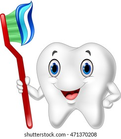 Dental Tooth and Toothbrush cartoon