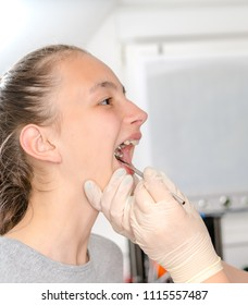 Dentist checking  for dental braces to the  patient