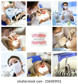 Dentist collage with different views at stomatology clinic