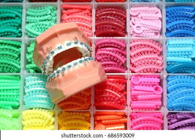 Dentist demonstration teeth model of varieties of orthodontic bracket or brace with flesh pink gums and dentist tool background. Orthodontic chain or elastic power chain