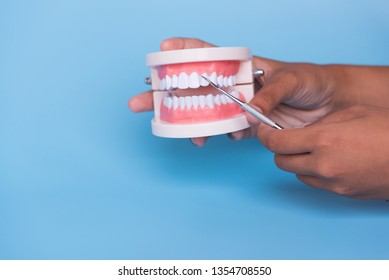 Dentist hand holding and showing tooth model and dental mirror demonstration for patient in the hospital on blue sky background.Dental healthcare education concept.
