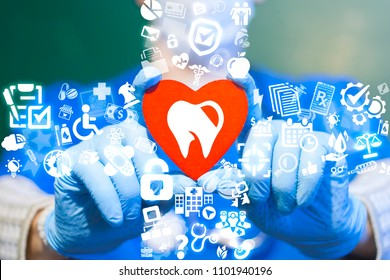 Dentist offers a red heart with tooth icon surrounded by specific icons. Dental Clinic. Oral Healthy. Dentistry Health Care concept.