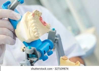 Dentist preparing a dental mould