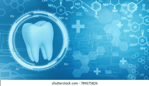 dentistry background image with futuristic interface and medical symbols, some space at the right for custom text or logo