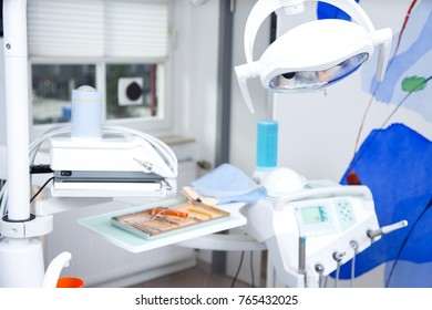 the dentist's chair and tools