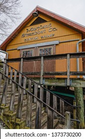"Denton, MD - April 5, 2019: This is a replica of the Maryland Steamboat Company""s building on the Choptank River and is a stop along the Harriet Tubman Underground Railroad Byway."
