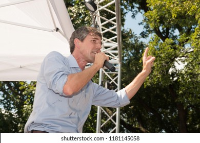 Denton, Texas / USA - 09-15-18: Democrat Beto O'Rourke campaigns in North Texas heat. O'Rourke is closing in on his opponent Republican Ted Cruz in midterms.