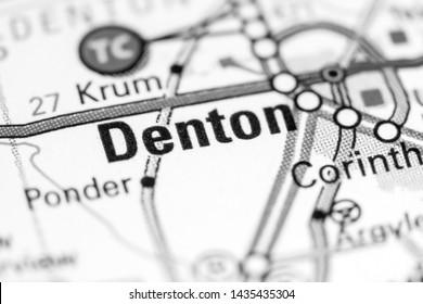 Denton. Texas. USA on a map