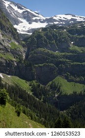 Dents du Midi mountains and waterfall (Champéry, Switzerland)