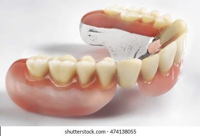 denture on white background