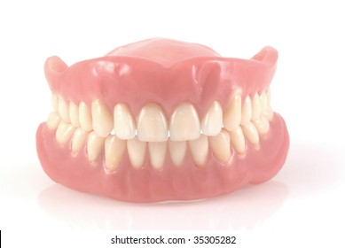 Dentures isolated on a white background.