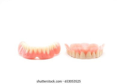 Dentures isolated on a white background. Denture, close up