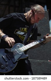 DENVER	JUNE 06:		Guitarist C.J. Pierce of the Heavy Metal band Drowning Pool performs in concert June 6, 2001 at Mile High Stadium in Denver, CO.