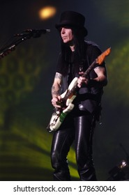 DENVER	NOVEMBER 01:		Guitarist Mick Mars of the Heavy Metal band Motley Crue performs in concert November 1, 1997 at McNichols Arena in Denver, CO.