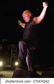 DENVER	OCTOBER 05:		Vocalist David Draiman of the Heavy Metal band Disturbed performs in concert October 5, 2011 at the Comfort Dental Amphitheater in Denver, CO.