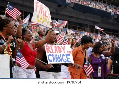 DENVER - AUG 28: Supporters of democratic presidential candidate Barack Obama holding posters at Invesco Field at Mile High Stadium in Denver, Colorado, on August 28, 2008.