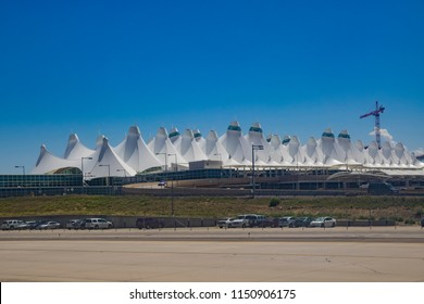 Denver, AUG 4: The famous tentlike roof in Airport on AUG 4, 2014 at Denver, Colorado