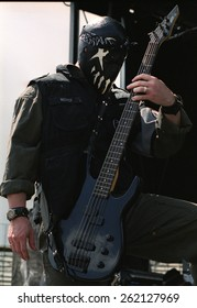 DENVER AUGUST 22:	Bassist Pig Benis of  Mushroomhead performs in concert August 22, 2002 at the Pepsi Center in Denver, CO.