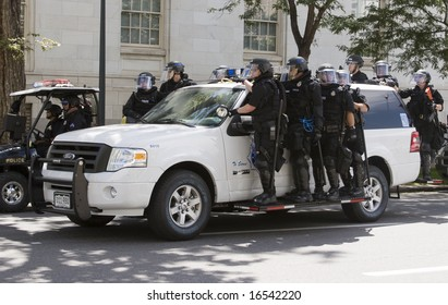 Denver - August 25: Democratic National Convention, Riot police on the move.