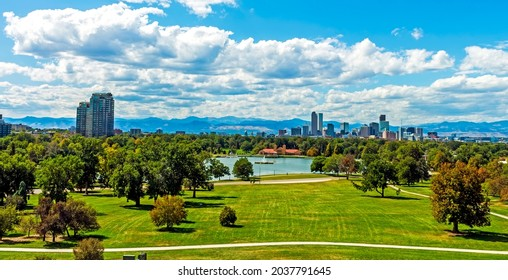 Denver city and beautiful park in autumn day,Colorado,United States.