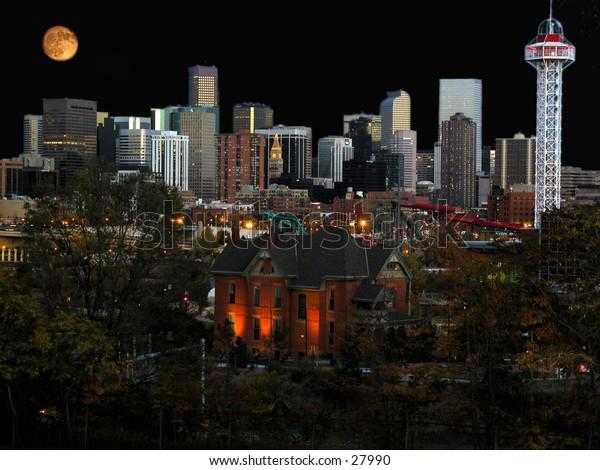 Denver city buildings at night